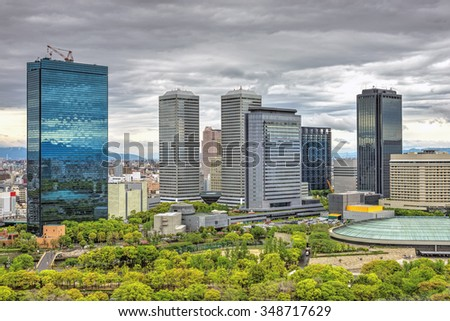 View of Osaka Business Park in Shiromi, Chuo-ku, Osaka, Japan. OBP is a business district covering 26 hectares and is one of Osaka's primary skyscraper clusters. - stock photo