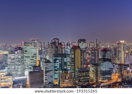 view of Osaka from the top floor of the highest building in town Symphony Hall, Japan - stock photo