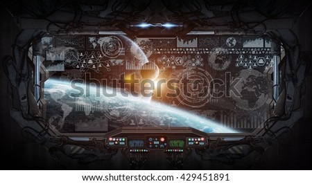 View of outer space from the window of a space station '3D rendering' 'elements of this image furnished by NASA' - stock photo