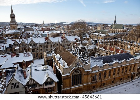 View of Oxford, across the top of Brasenose and Exeter colleges - stock photo