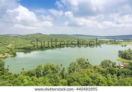 View of Padma lake with lush green forest in Ranthambhore National park, India