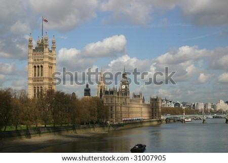 view of palace of westminster - stock photo