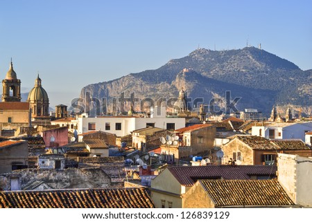 View of Palermo with roofs in high dynamic range Sicily- Italy - stock photo