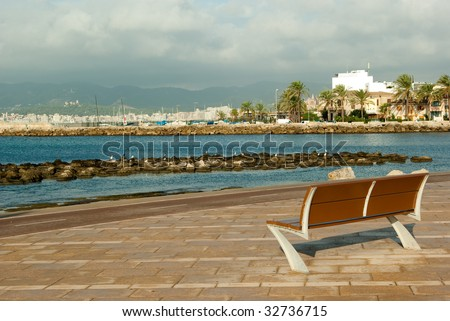 View of Palma de Mallorca and mountains behind it - stock photo