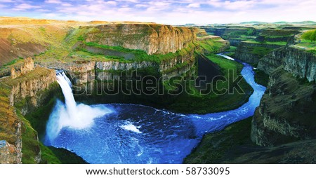 View of palouse falls at sunset