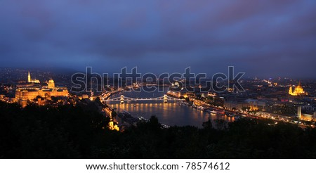 view of panorama Budapest, Hungary, from fortress Citadel - stock photo