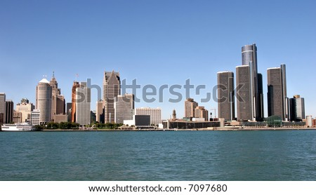 view of panorama Detroit skyline from Windsor - stock photo