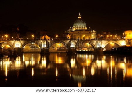 view of panorama night Vatican City in Rome, Italy