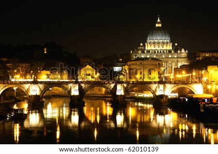 view of panorama night Vatican City in Rome, Italy - stock photo