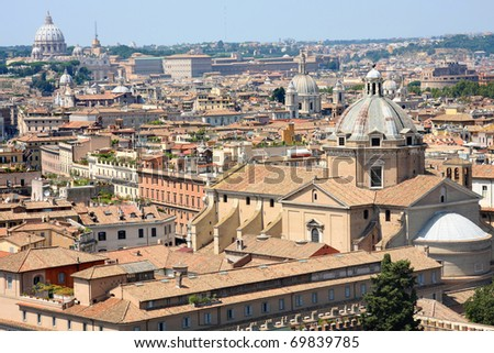 view of panorama Rome, Italy, skyline from Vittorio Emanuele, Piazza Venezia