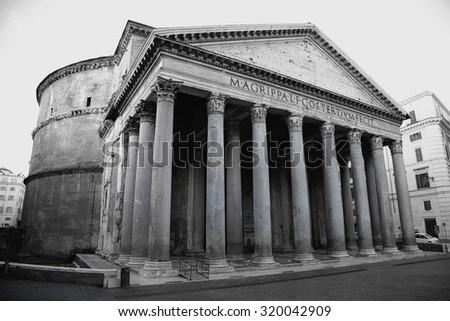view of Pantheon in Rome, Italy. black/white photo - stock photo