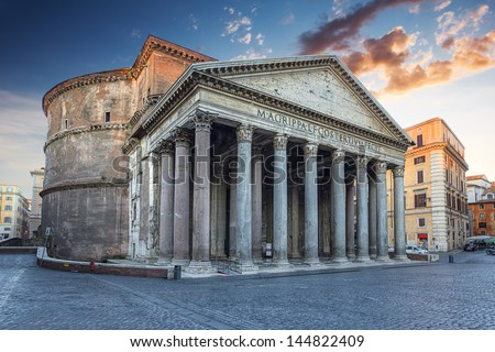 view of Pantheon in the morning. Rome. Italy. - stock photo