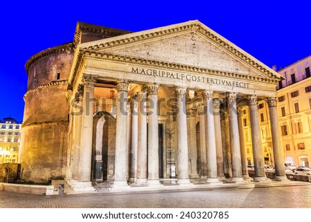 View of Pantheon, Rotonda square at twilight. Rome, Italy - stock photo