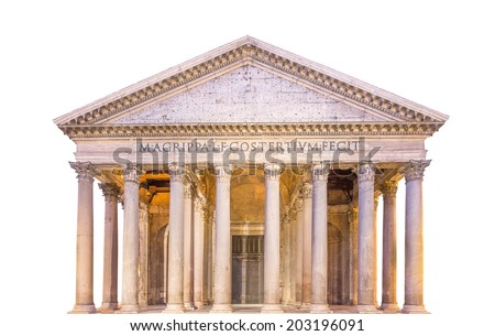 View of Pantheon, Rotonda square. Rome, Italy, isolated - stock photo