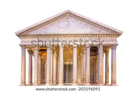 View of Pantheon, Rotonda square. Rome, Italy, isolated - stock photo