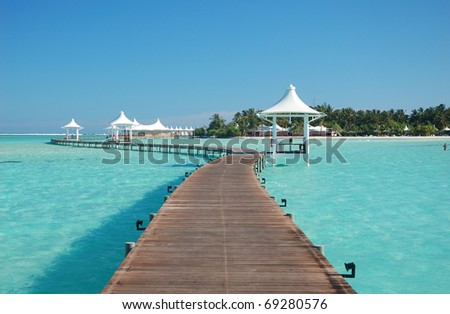 View of paradise island - stock photo