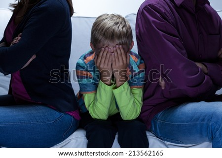 View of parents with problems and child - stock photo