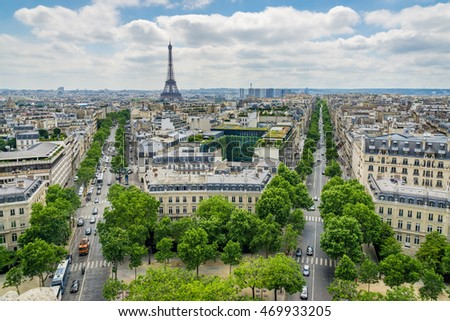 View of Paris from atop the Arc de Triomphe.