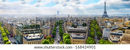 View of Paris from the Arc de Triomphe. Paris.  - stock photo