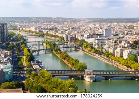 View of Paris from the Eiffel Tower, France. The River Seine.