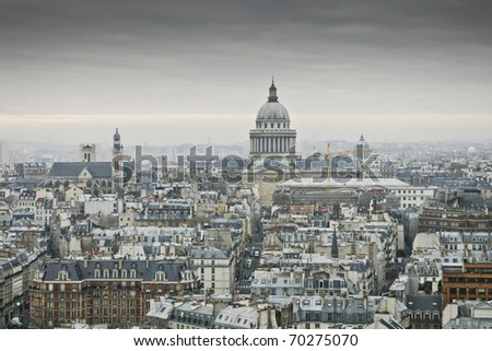 View of Paris from the roof of the cathedral of Notre Dame - stock photo