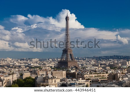 View of Paris with Eiffel tower from The Arc de Triomphe