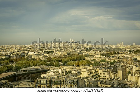 View of Paris with Sacre Coeur Basilica on the hill, France