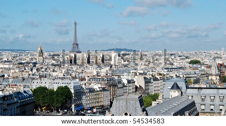 View of Paris with the Eiffel Tower - stock photo