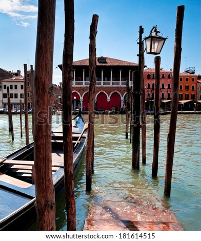 View of parking place for Gondolas in Venice on Grand canal, Italy - stock photo
