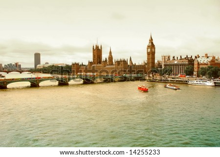 View of Parliament and Thames River - London, UK. - stock photo