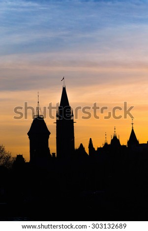 View of Parliament buildings from Plaza Bridge Ottawa during sunset - stock photo