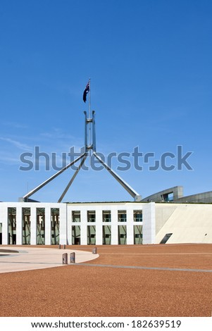 View of Parliament House Canberra on a sunny day - stock photo