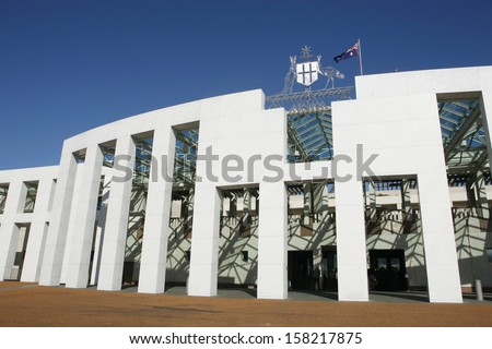 View of Parliament House Canberra, the national parliament building of Australia, Australian Capital Territory, Australia - stock photo