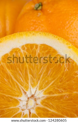 view of part of halved fresh oranges