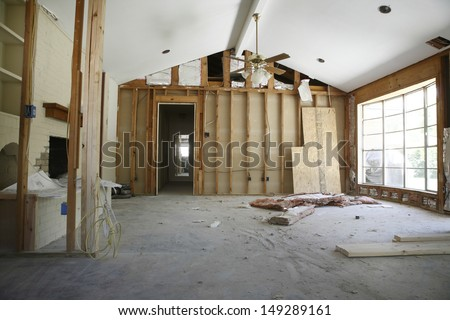 View of partition wall in house under renovation - stock photo