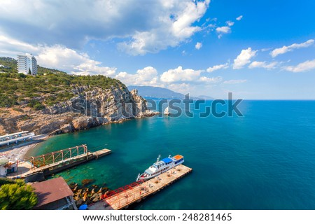 view of Parus, Sail, Rock and beach with Swallow's Nest castle on Southern Coast of Crimea