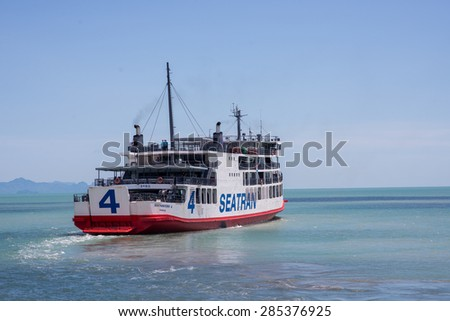 view of passenger ferry boat at Samui island  - stock photo