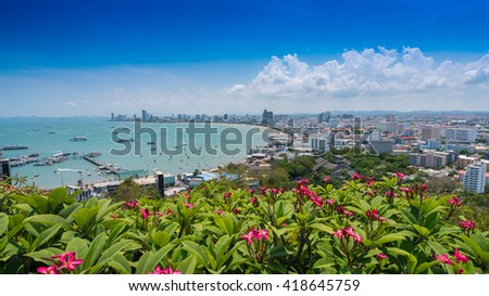View of pattaya city beach at Pratumnak Viewpoint. - stock photo