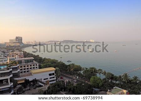view of Pattaya city,morning - stock photo