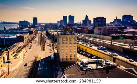 View of Penn's Landing from the Ben Franklin Bridge Walkway, in Philadelphia, Pennsylvania. - stock photo