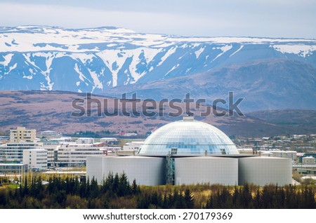 View of Perlan, water reservoir and restaurant in Reykjavik, Iceland - stock photo