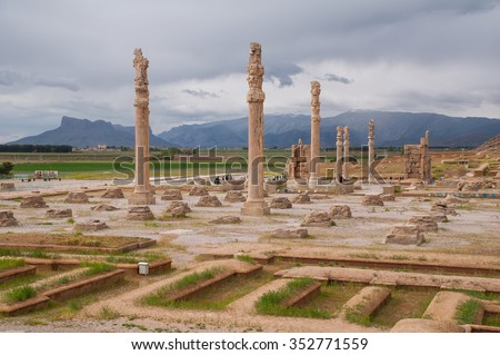 View of Persepolis in northern Shiraz, Iran. Persepolis has led to its designation as a UNESCO World Heritage Site. - stock photo