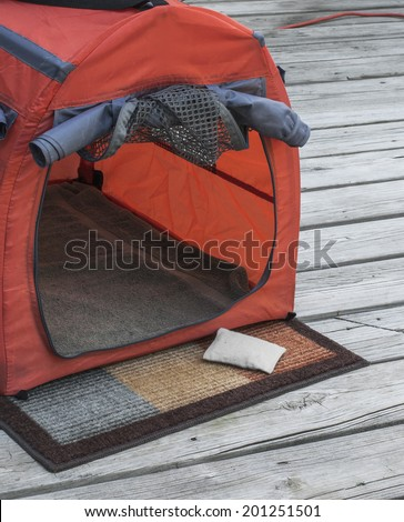 View of personal pet shelter in an outdoor setting. - stock photo