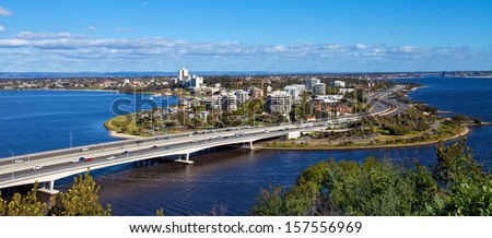 View of Perth from Kings park, Western Australia - stock photo