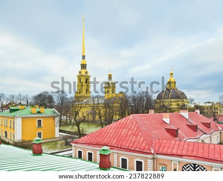 """View of Peter and Paul Cathedral from the wall of the same name fortress (tourist route """"Neva panorama""""). St.-Petersburg, Russia - stock photo"""