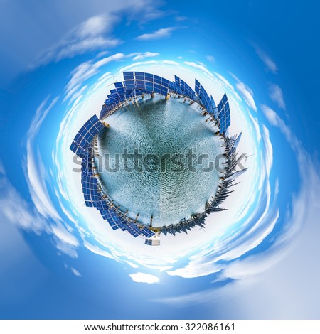View of photovoltaic panels rotating - stock photo