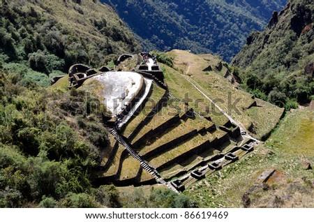 View of Phuyupatamarca ruin on the Inca Trail - stock photo