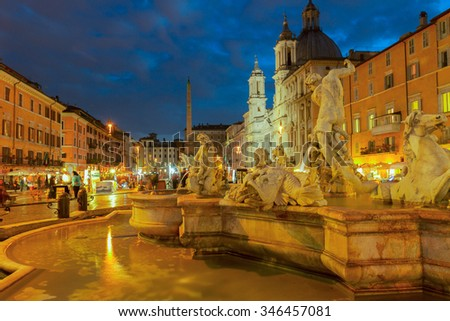 view of Piazza Navona in Rome at night, Italy - stock photo