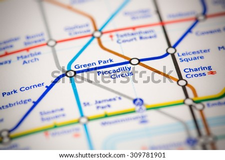 View of Piccadilly Circus station on a London subway map. - stock photo