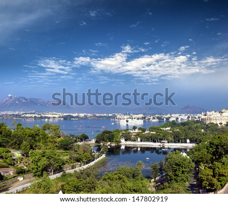 View of Pichola lake and Udaipur city, India, Rajasthan - stock photo